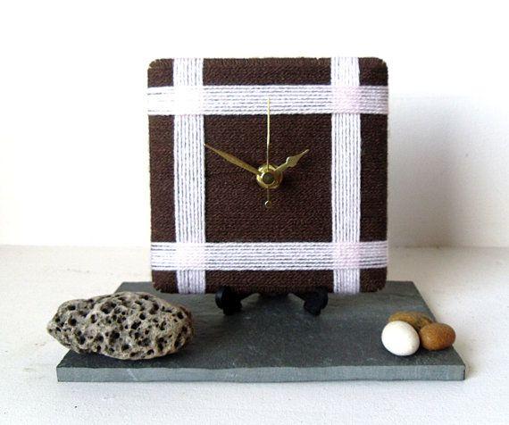 Wool Desk Clock / Small Wall Clock Chocolate by NaturalClocks, £10.00