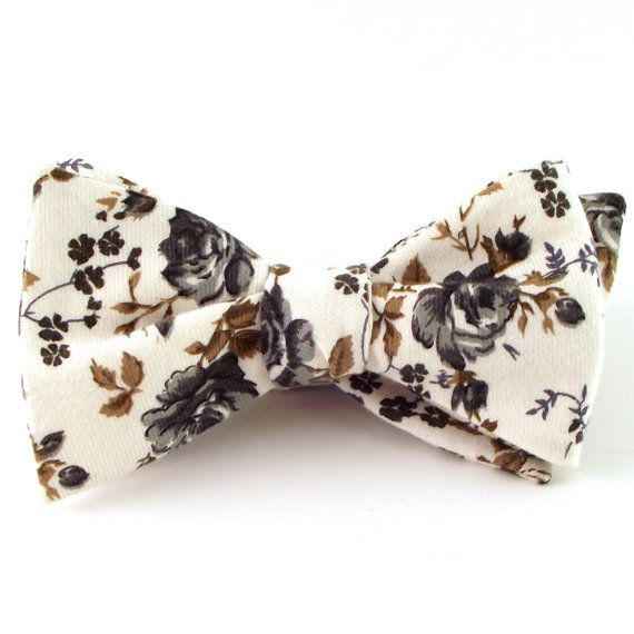Men's Bow Tie Floral Self Tie Bow Tie with by danceCHICKENSdance