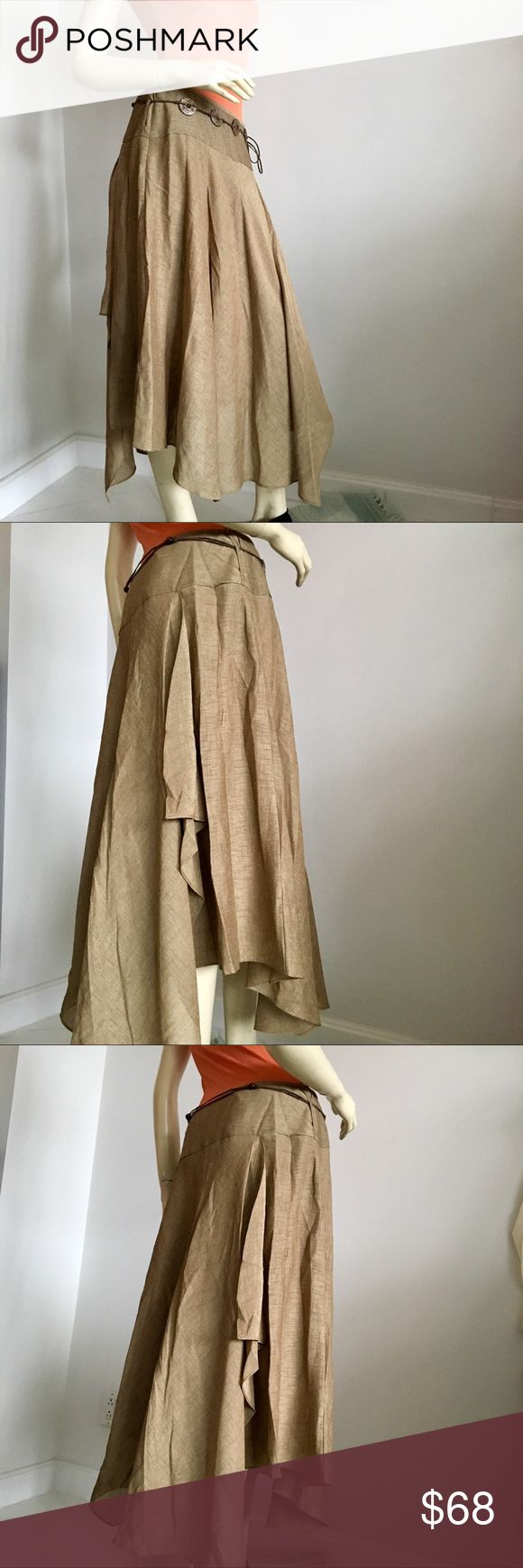 """Nwt Kasper handkerchief hem midi skirt Nwt Kasper flowy handkerchief hem midi skirt. Zips up on the side with hook and eye closure. Belt loops on the side with beaded belt. 100% polyester. Color sepia. Size 6P waist is 30"""" length along a side seam 28"""".  Made in Indonesia  *bodysuits in closet under tops to match* Kasper Skirts Asymmetrical"""