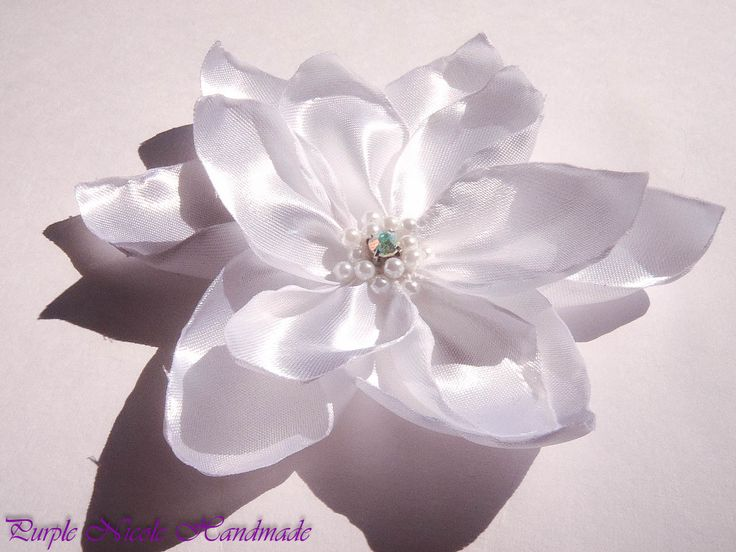 Lotus - Handmade Bridal Flower by Purple Nicole (Nicole Cea Mov). Materials: satin, pearls, rhinestone.