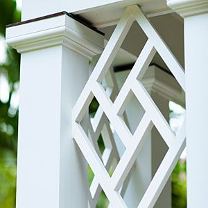 Detail of Chippendale-inspired portico. Southern Living, August, 2013.