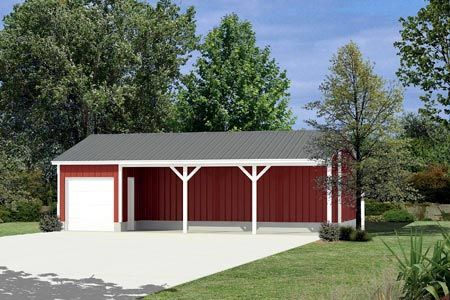 Pole building equipment shed project plan 85936 via for Wood pole barn plans free