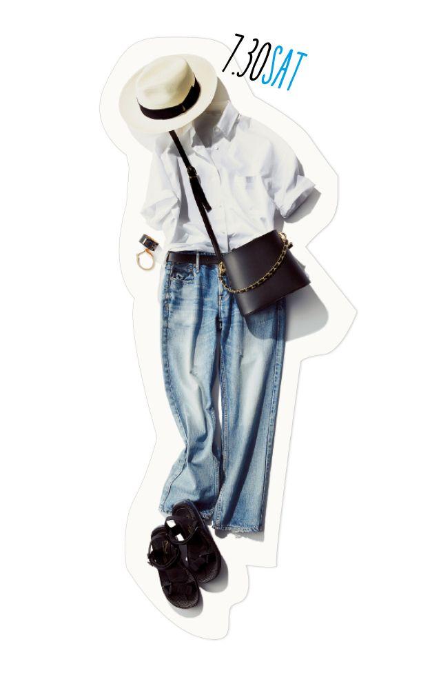 白シャツ×デニムの休日コーデを格上げさせるマル秘テクニック!-@BAILA ワタシを惹きつける。モノがうごく。リアルにひびく。BAILA公式サイト HAPPY PLUS(ハピプラ)集英社
