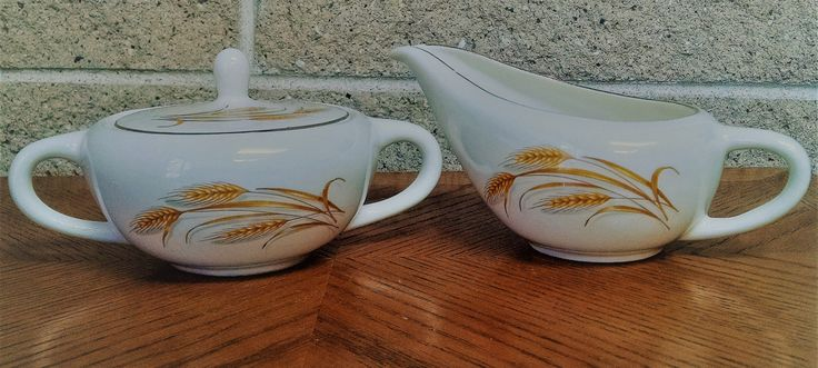 Homer Laughlin Golden Wheat Sugar Bowl and Creamer Set - Mid Century Dinnerware - 1950's  Vintage - Ivory with Gold Trim and Wheat Design by ClassyVintageGlass on Etsy