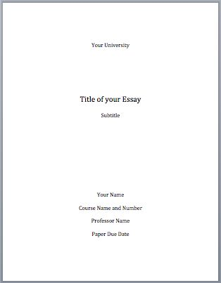 Cover page for college essay