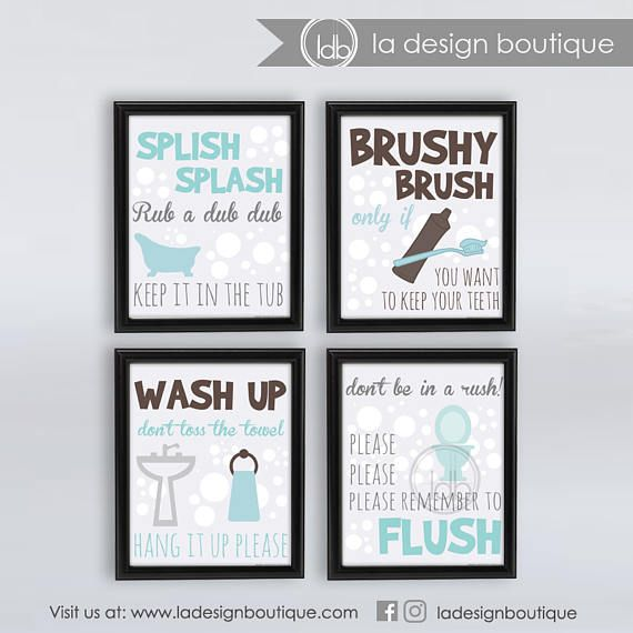 Bathroom Wall Decor 4 piece set Brush Your Teeth Only $10!