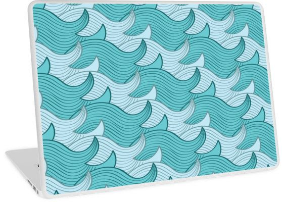 California Surf Wave Pattern Illustration by Gordon White | Heather Grey California Surf Macbook Air 13 Laptop Skin Available @redbubble --------------------------- #redbubble #stickers #california #losangeles #la #surf #wave #cute #adorable #pattern #laptop #skin #laptopskin #macbook