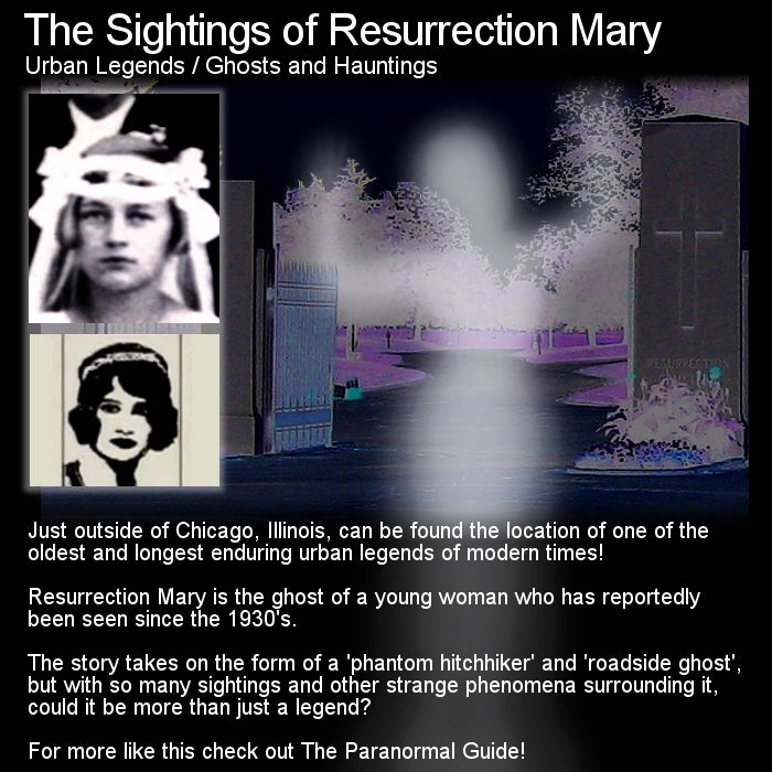 One of the worlds most famous road side ghost urban legends... but who is Resurrection Mary? Head to this link for the full article: http://www.theparanormalguide.com/1/post/2012/12/resurrection-mary.html
