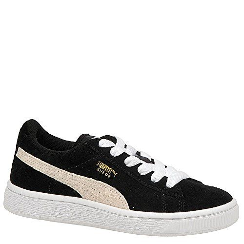 PUMA Suede Junior Sneaker (Little Kid/Big Kid) , Black/White, 2 M US Little Kid