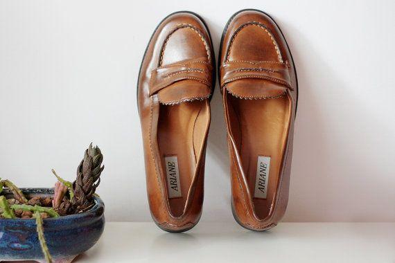 Scarpe donna 40 41, Mocassino marrone donna in ecopelle misura 40 41 IT, scarpe basse anni 90 stile college, mocassino vintage anni 90