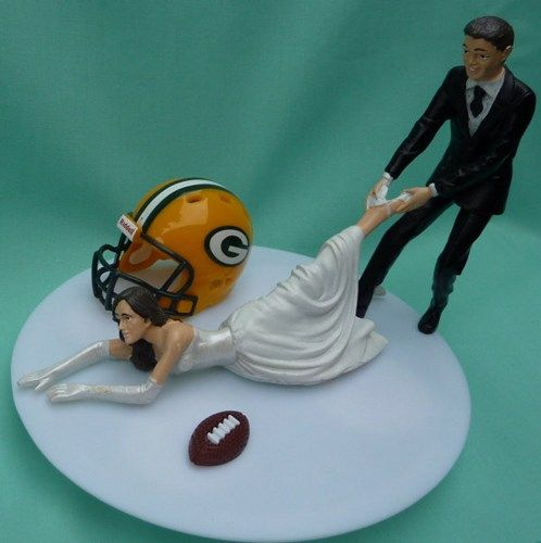 Green Bay Packers Football Themed Wedding Cake Topper #cake #wedding #packers
