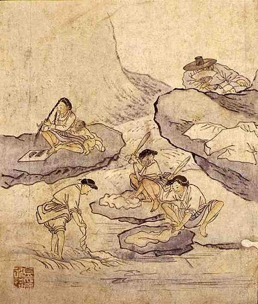 (Korea) Wash-up among the Stream by Kim Hong-do (1745-1806). aka Danwon. ca 18th century CE. Joseon Kingdom, Korea. Album of Genre paintings. 빨래터 (漂母). 檀園風俗畵帖. 종이에 담채. 27cm x 22.7cm. Korean National Museum, Seoul.