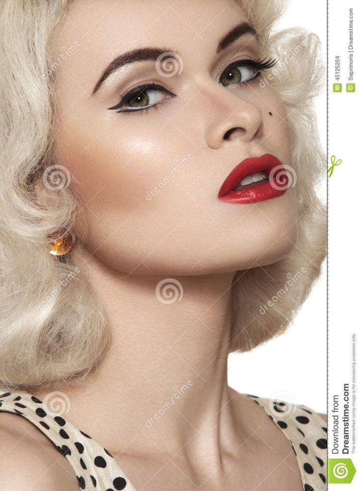 center Curly cute Hairstyles Lips put red Simply