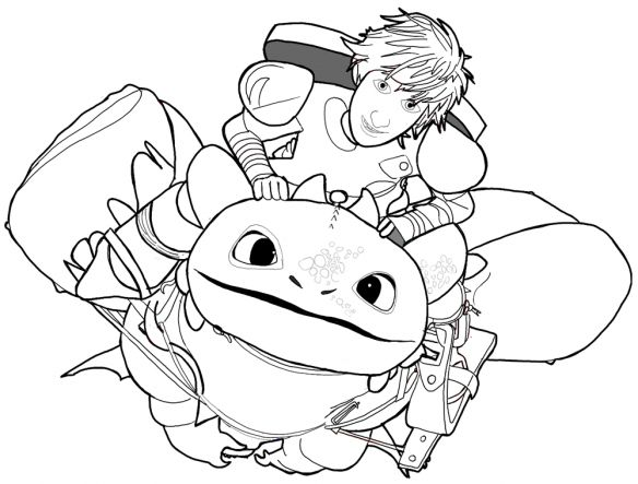 How To Train Your Dragon Hiccup And Toothless Coloring Pages