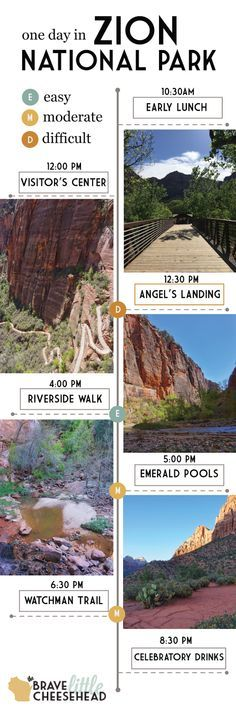 Zion National Park in Utah is divided into two sections. If you only have one day, plan to spend it in Zion Canyon. In only 8 hours, you can tackle four great hikes and soak up some of the most spectacular views the park has to offer.