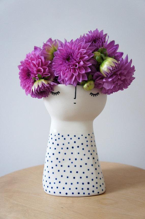 Hand-painted stoneware vase