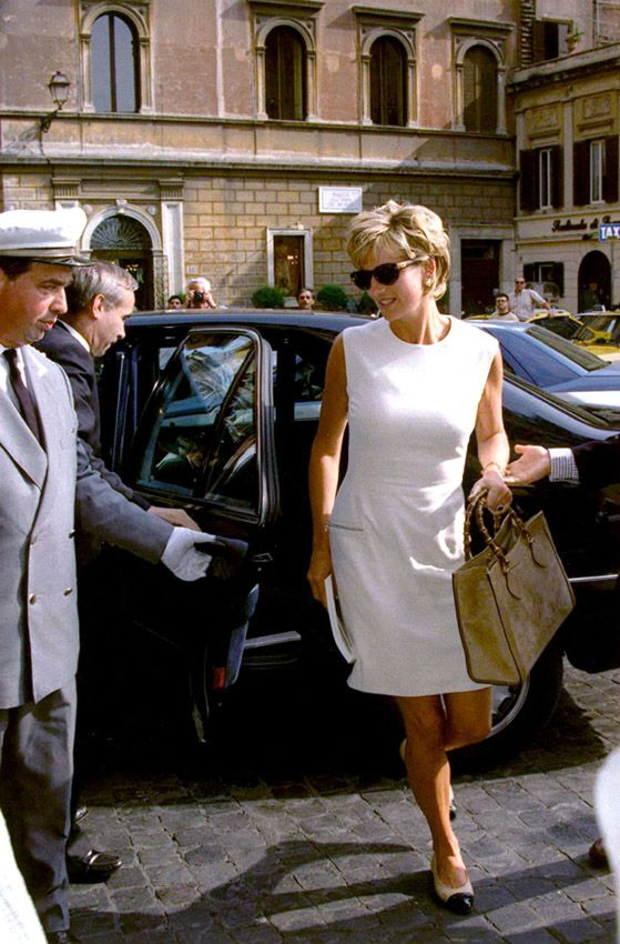 From the Archive: Lady Diana Spencer carrying a Gucci top handle Bamboo tote in Rome, 1991