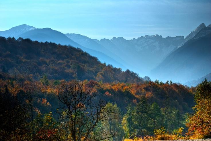 Fagaras Mountains, View from Albota Trout Farm, Sibiu, Romania