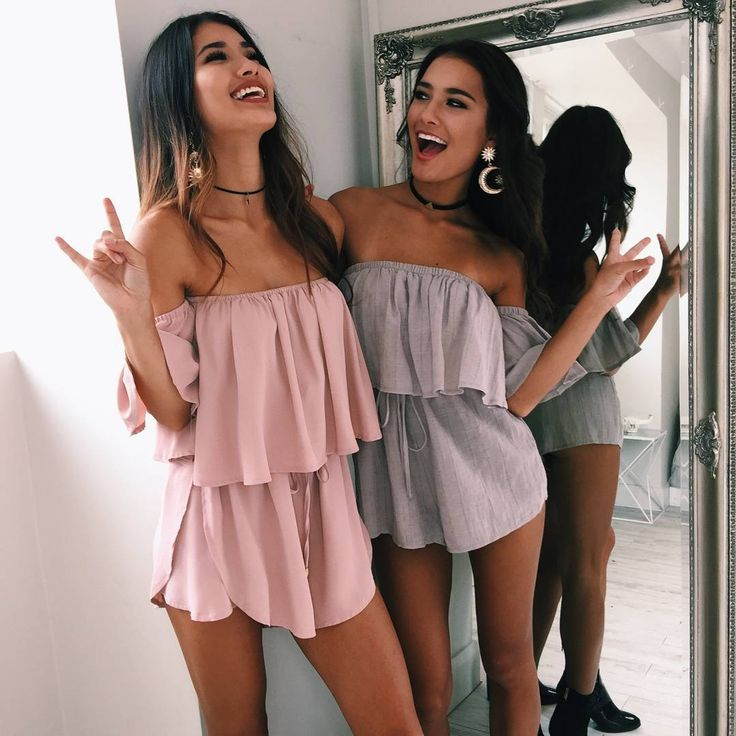 Matching and we love it!  'Slap Me Silly playsuit in blush' and 'You Bring Me Joy playsuit in taupe'☝️ Shop now via the link in our bio #showpo