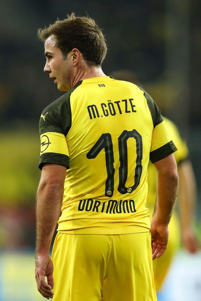Mario Goetze of Borussia Dortmund looks on during the Bundesliga ...