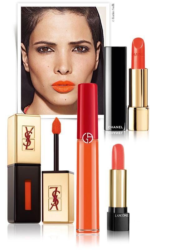 Orange lip, DSquared², DKNY, Prabal Gurung, Giorgio Armani, Dior, Yves Saint Laurent, Chanel, By Terry, Lancôme, lipstick, runway trend, bea...