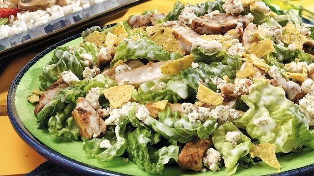 Seasoned Chicken Caesar Salad - love the tortilla chips in it!