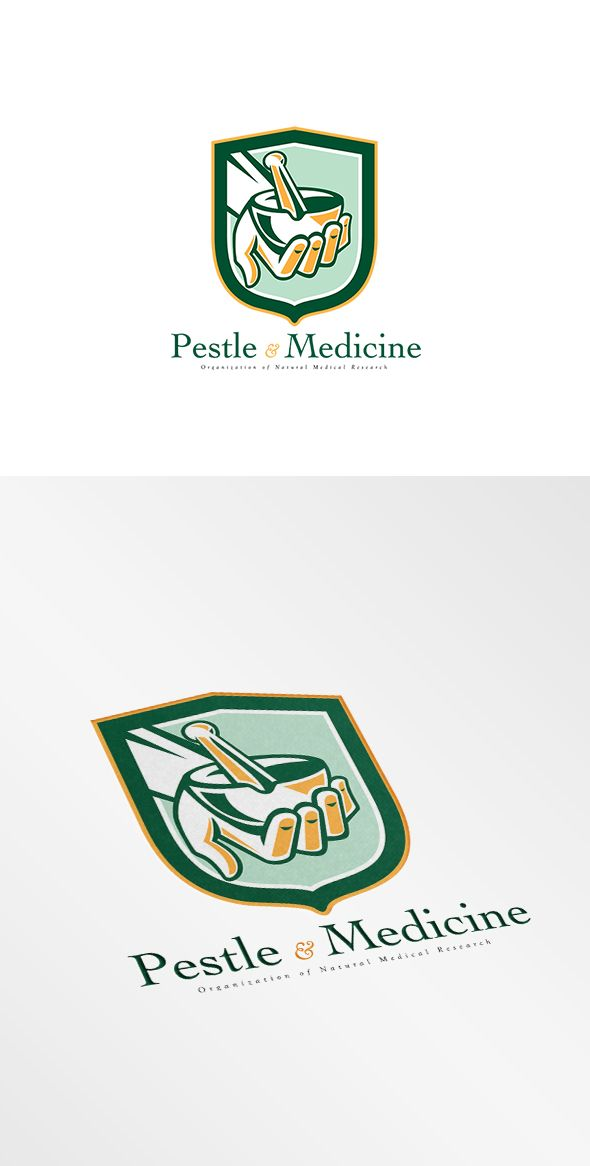 Pestle and Medicine Medical Research Logo. Logo showing illustration of a hand holding mortar and pestle set inside shield crest on isolated background done in retro style. 100% re-sizeable