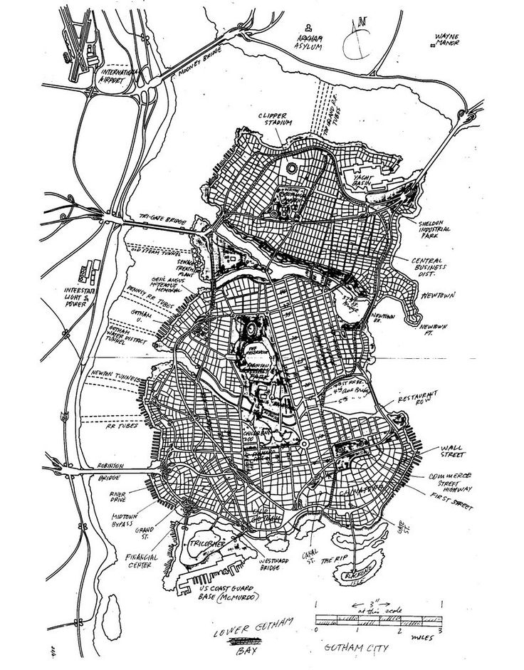 The final, hand-drawn map of Gotham City by Eliot R. Brown - The Cartographer Who Mapped Out Gotham City - Batman has been guarding Gotham for 75 years, but its city limits weren't defined until 1998