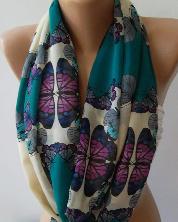 Dance of the Colors Collection / Butterfly Patterned - Infinity - Loop - Circle - Elegant / Feminine -- Summer - Shawl - ScarfCircle Scarf, Collection Butterflies, Chiffon Fabrics, Infinity Scarfs, Scarf Circles, Butterflies Patterned Sup, Scarf Loop, Circles Scarf, Loop Scarf