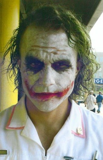Regarding our original concept of good vs evil clowns, we still wanted to blend some sort of comedy into the piece, whether it was slapstick or just plain black dark humour. I feel that it was summed up best by this image of Heath Ledger's Joker in a female nurse's outfit, as it mixes the best of both. His dark maniacal nature, and the staple of a clown in an outfit that comically contrasts his true nature (e.g. when a clown goes to bed at night as a regular person again).