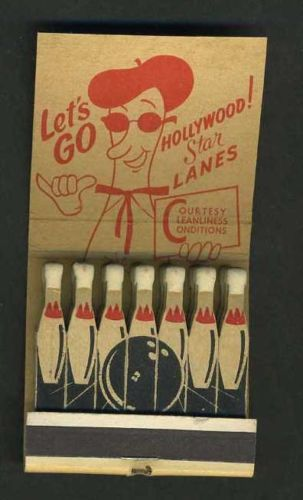 Hollywood-BOWLING-Lanes-Printed-Sticks-21#Feature-#Matchbook To design & order your business' own branded #matches GoTo GetMatches.com