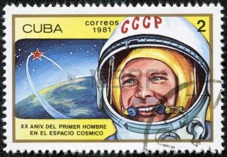 CUBA - CIRCA 1981 timbre oblit�r� imprim� � CUBA, montre d'abord russe, l'astronaute sovi�tique Youri Gagarine, l'orbite de la navette spatiale v�hicule, circa 1981 20 anniversaire du 1er vol spatial photo