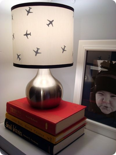 Like this lamp... She added the airplanes herself... Cute.
