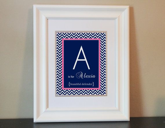 Chevron Baby Nursery Name Art Girl (Pink & Navy Blue)- 8x10 Personalized Digital Print- Printable