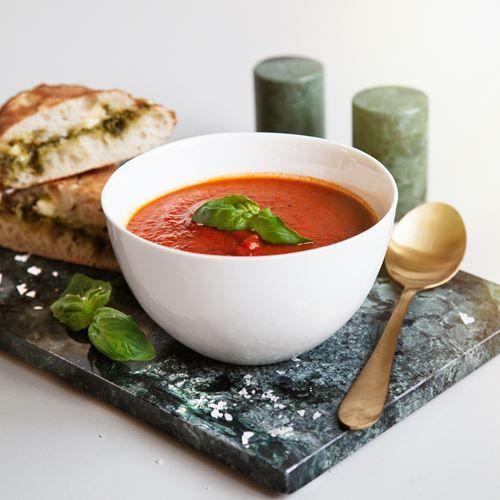 Tomatsoppa med grillad ost- och skinkbaguette