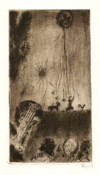Bohuslav Reynek Don Quijote - Loutkové divadlo / Don Quijote - Puppet Theatre suchá jehla / dry point 18,1 x 9,9 cm, 1960, opus G 407