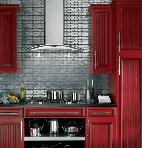 Great Combo   Red Cabinets, Black Counters And Grey Tiles. Red Kitchen  CabinetsKitchen DesignKitchen ...