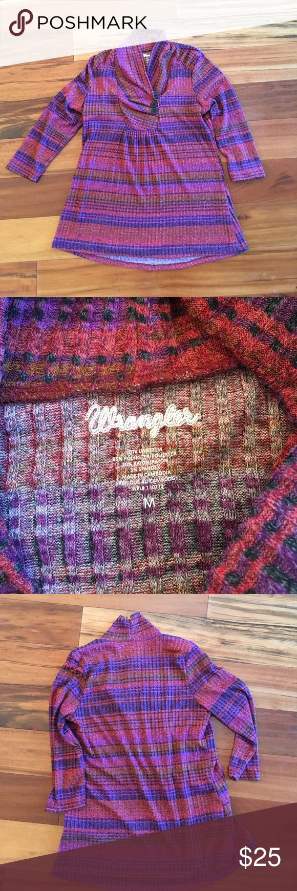 Wrangler Women's Cowl Neck sweater with buttons Brand new quality, never worn. 3/4 sleeve, ribbed. Red and purple tones. Wrangler Sweaters Cowl & Turtlenecks