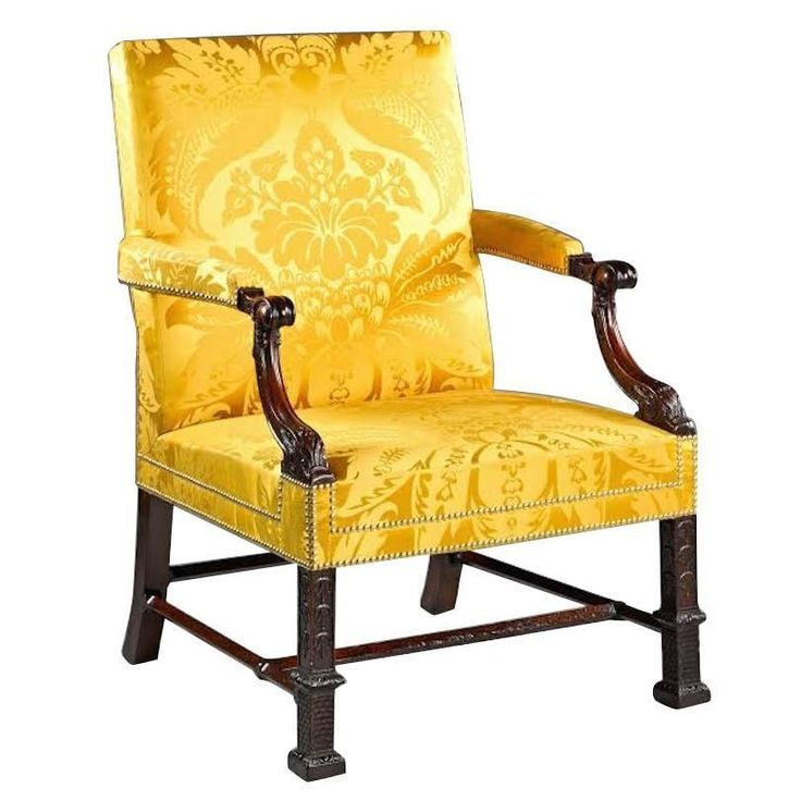 19th Century English Gainsborough Library Armchair With Yellow Damask  Upholstery