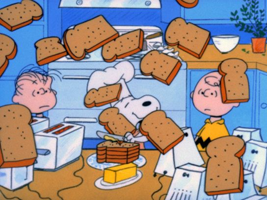 Snoopy, Charlie Brown, Making Toast in the Kitchen, Refrigerator Magnet,  NEW LARGER SIZE !! by MagnetsbyAbby on Etsy
