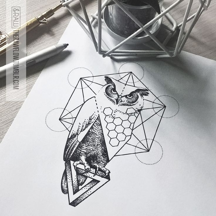Dotwork owl tattoo design - currently available - www.skinque.com