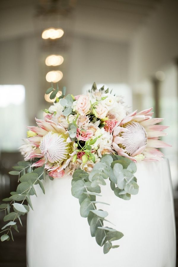 Set against a crisp white background and filled with the most gorgeous Kings and Blushing Bride proteas (our favourites!), this contemporary classic South African wedding includes a glasshouse ceremony, and a beautiful reception filled with blooms.