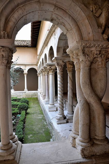 ♔ Aix-en-Provence - Cloître Saint-Sauveur. Look at the pillars in this beautiful cloister in ~ Provence