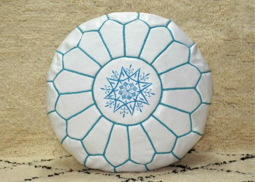 Moroccan Leather Pouf Cover Ottoman Traditional Footstools, White