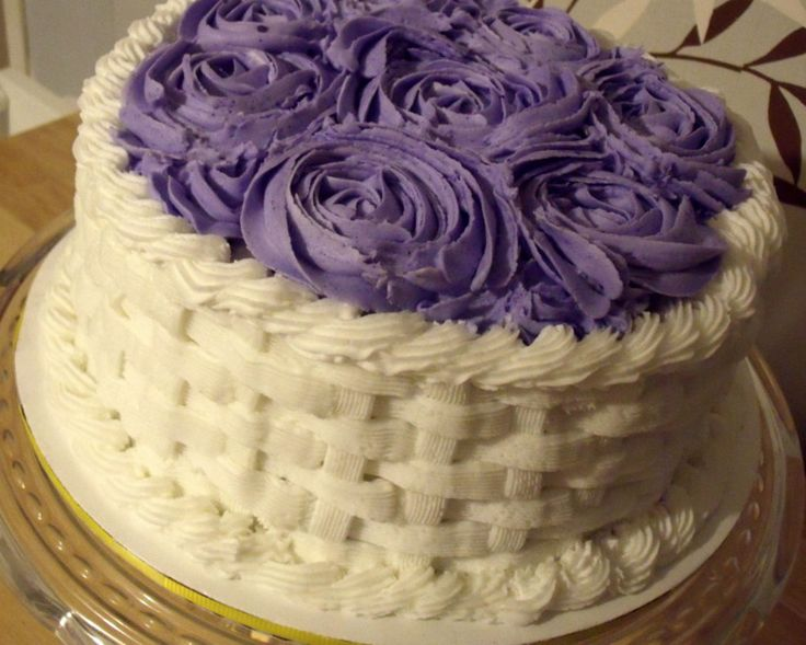 Simple basket weave cake with roses on top :)
