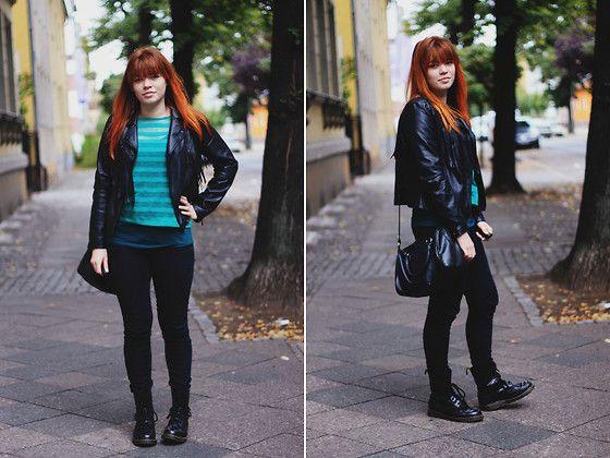 Primark Fake Leather Jacket, Primark See Trough Pullover, H&M Top, Primark Jeans, H&M Bag, Dr. Martens Boots