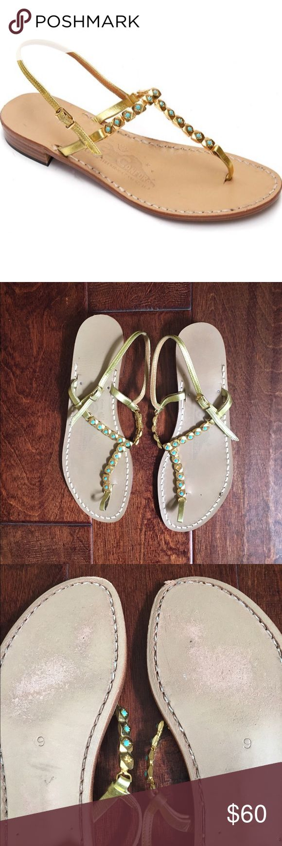 Canfora Capri Masha Sandals Step aside Queen Nefertiti! The unique combination of golden leather and turquoise - colored beads give these modern-day sandals a rich look reminiscent of ancient Egypt. Non slip rubber heel guard. Hand stitched leather sole. Italian -made beads. Gold strap in calf leather. As you can see in the photos the sole has some flaws, scratches. Open to Offers. canfora Shoes Sandals