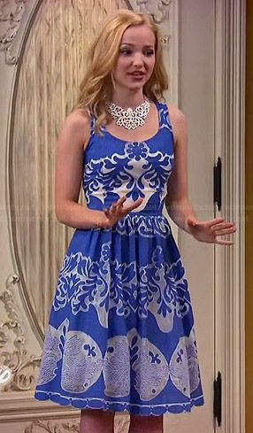 Liv's blue and white patterned dress and yellow wedges on Liv and Maddie.  Outfit Details: http://wornontv.net/46603/ #LivandMaddie