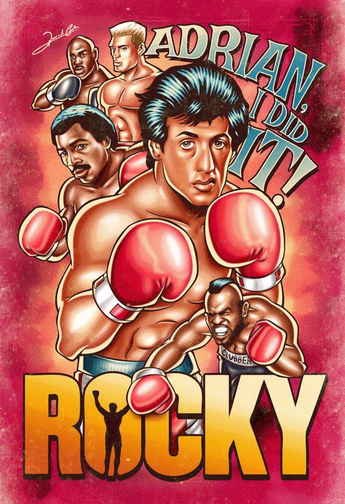 Ilustração sobre uma de minhas série de filmes favoritas do cinema, Rocky, criada pelo astro Sylvester Stallone. Aparecem na arte, além do próprio Rocky Balboa, seus adversários Apollo Creed (Carl …