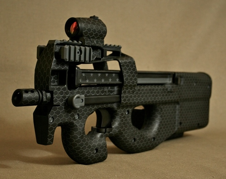 FNH PS90 SBR. Custom Midnight Snakeskin duracoat paint job. U.S. Secret Service as well as many SWAT teams around the world have the fully automatic P90 in service. This firearm is regarded as one of the best in the world.